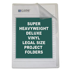 C-Line Deluxe Project Folders, Jacket, Legal, Vinyl, Clear, 50/Box