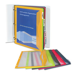 C-Line Binder Pocket With Write-On Index Tabs, 9 11/16 x 11 3/16, Assorted, 5/Set