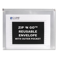 C-Line Zip �N Go Reusable Envelope w/Outer Pocket, 13 x 10, Clear, 3/Pack