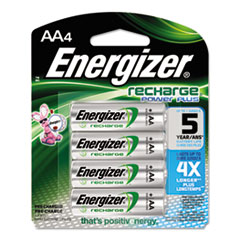 Energizer NiMH Rechargeable Batteries, AA, 4 Batteries/Pack