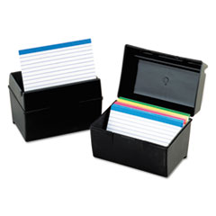 Oxford Plastic Index Card File, 400 Capacity, 6 1/2w x 4 7/8d, Black