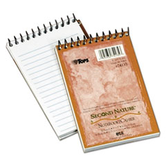 TOPS Second Nature Subject Wirebound Notebook, Narrow, 3 x 5, White, 50 Sheets