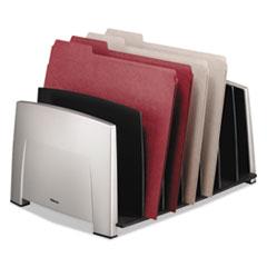 Fellowes File Sorter, 7 Comp, Plastic, 14 1/2 x 10 5/16 x 7 1/2, Black/Silver
