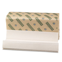 Boardwalk Green Folded Towels, C-Fold, Natural White, 10 1/8W x 13L, 200/Pack, 12/Carton
