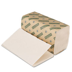 Boardwalk Green Folded Towels, Single-Fold, Natural White, 9W x 10L, 268/Pack, 15/Carton