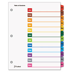 Cardinal Traditional OneStep Index System, 12 Tab, Jan-Dec, Letter, Multicolor, 12/Set