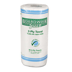 Boardwalk Green Household Roll Towels, 2-Ply, 11x9, 90 Sheets/Roll, 30 Rolls/Ctn