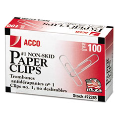 ACCO Nonskid Economy Paper Clips, Steel Wire, No. 1, Silver, 100/Box, 10 Boxes/Pack