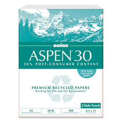Boise ASPEN 30% Recycled Office Paper, 3-Hole, 92 Bright, 20lb, Ltr, White, 5000/Ctn