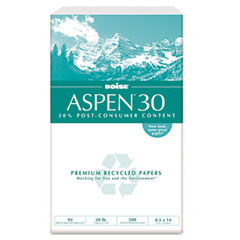 ASPEN 30% Recycled Office Paper, 92 Bright, 20lb, 8-1/2 x 14, 5000/Carton