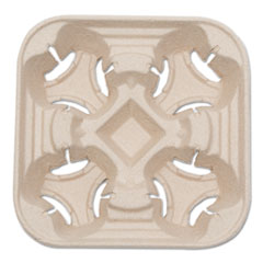 NatureHouse Heavyweight 4-Cup Carry Tray, 6 x 2 x 6, Natural, 75/Pack