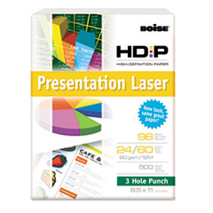 Boise HD:P Presentation Laser Paper, 3-H, 96 Bright, 24lb, 8-1/2 x 11, WE, 500/Ream
