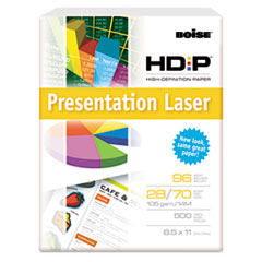 Boise HD:P Presentation Laser Paper, 96 Brightness, 28lb, 8-1/2x11, White, 500/Ream