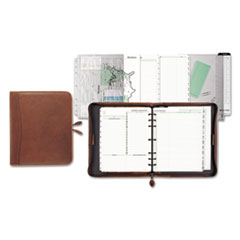 Day-Timer Aviator Distressed Leather Starter Set, 8 1/2 x 11, Dark Tan