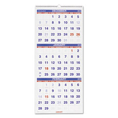 AT-A-GLANCE Vertical-Format Three-Month Reference Wall Calendar, 12 1/4 x 27, 2015-2017