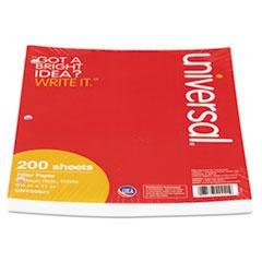 Universal Mediumweight 16-lb. Filler Paper, 11 x 8-1/2, College Ruled, White, 200 Shts/Pk