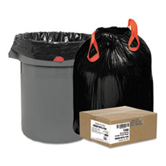 Draw 'n Tie Heavy-Duty Bags, 33gal, 1.2mil, 38 x 33 1/2, Black, 150/Box