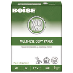 Boise X-9 Multi-Use Copy Paper, 92 Bright, 20lb, 8-1/2 x 11, White, 2500 Sheets/Carton