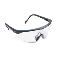 Nassau Vibrance Wraparound Safety Glasses, Black Plastic Frame, Clear Lens