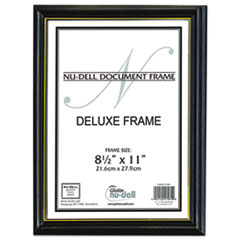 NuDell Deluxe Wood Document Frame, Plastic Face, 8-1/2 x 11, Black