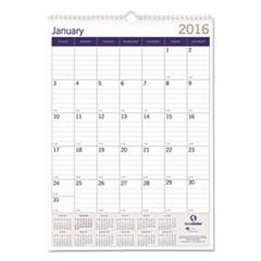 Blueline DuraGlobe Monthly Wall Calendar, 17 x 12, 2016
