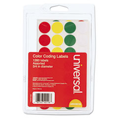 UNV 40116 Universal Self-Adhesive Removable Color-Coding Labels UNV40116
