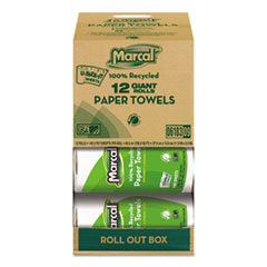 Marcal 100% Recycled Roll Towels, 5 1/2 x 11, 140 Sheets, 12 Rolls/Carton