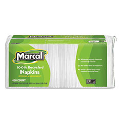 Marcal 100% Recycled Luncheon Napkins, 12 1/2 x 11 2/5, White, 2400/Carton