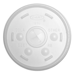 Dart Plastic Lids, for 12oz Hot/Cold Foam Cups, Slip-Thru Lid, White, 1000/Carton