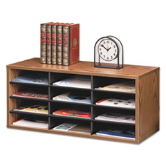 Fellowes Particle Board Desktop Sorter, 12 Section, 29 x 11 7/8 x 12 15/16, Medium Oak