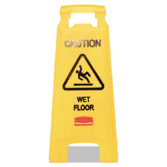 Rubbermaid Commercial �Caution Wet Floor� Floor Sign, Plastic, 11 x 1 1/2 x 26, Bright Yellow