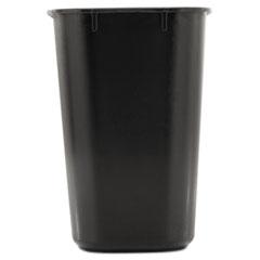 Rubbermaid Commercial Deskside Plastic Wastebasket, Rectangular, 3 1/2 gal, Black