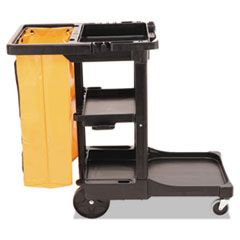 RCP 617388BK Rubbermaid Commercial Multi-Shelf Cleaning Cart RCP617388BK