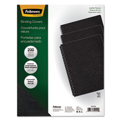 Fellowes Executive Presentation Binding System Covers, 11-1/4 x 8-3/4, Black, 200/Pack