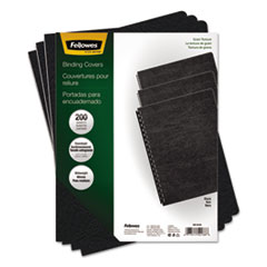 Fellowes Classic Grain Texture Binding System Covers, 11-1/4 x 8-3/4, Black, 200/Pack