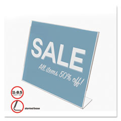 deflecto® HOLDER SLANTED SIGN11X8.5 CLASSIC IMAGE SLANTED SIGN HOLDER, LANDSCAPED, 11 X 8 1-2 INSERT, CLEAR