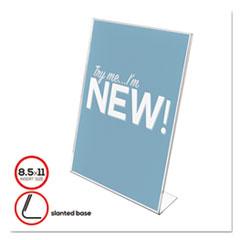 deflecto® HOLDER SLANTED SIGN8.5X11 CLASSIC IMAGE SLANTED SIGN HOLDER, PORTRAIT, 8 1-2 X 11 INSERT, CLEAR