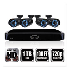 NGT BA720414 Night Owl Four-Channel Smart HD Video Security System with Four 720p HD Cameras NGTBA720414
