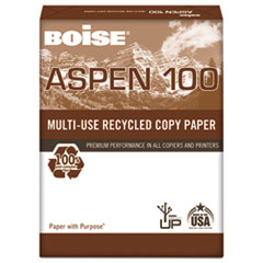 Boise ASPEN 100% Multi-Use Recycled Paper, 92 Bright, 20lb, 11 x 17, White, 2500/CT