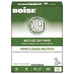 Boise X-9 Multi-Use 3-Hole Copy Paper, 92 Bright, 20lb, 8-1/2 x 11, White, 5000/Carton