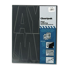 Chartpak Press-On Vinyl Uppercase Letters, Self Adhesive, Black, 6