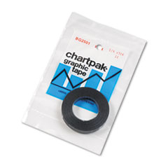 Graphic Chart Tape, 1/4&quot; x 324&quot;, Glossy Black