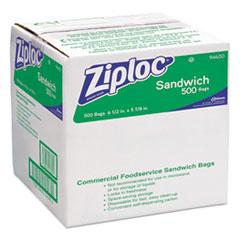 Ziploc Resealable Sandwich Bags, 1.2mil, 6 1/2 x 6, Clear, 500/Box