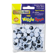 Creativity Street Wiggle Eyes Assortment, Assorted Sizes, Black, 100/Pack