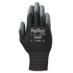 AnsellPro GLOVES HFLXLTE COATED XL Hyflex Lite Gloves, Black-gray, Size 10, 12 Pairs