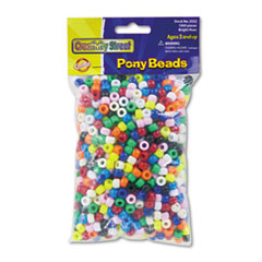 Chenille Kraft Pony Beads, Plastic, 6mm x 9mm, Assorted Colors, 1000/Pack