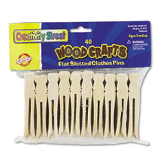 Creativity Street Flat Wood Slotted Clothespins, 3 3/4 Length, 40 Clothespins/Pack