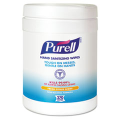 PURELL Sanitizing Hand Wipes, 6 x 6 3/4, White, 270/Canister, 6 Canisters/Carton