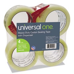 Universal One Heavy-Duty Box Sealing Tape w/Dispenser, 48mm x 54.8m, 3