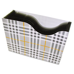 C-Line 13-Pocket Expanding File, Nine Inch Expansion, Letter, Gray Plaid